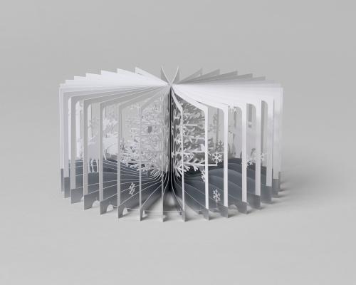 クリスマスに添える「360°BOOK」雪降る森