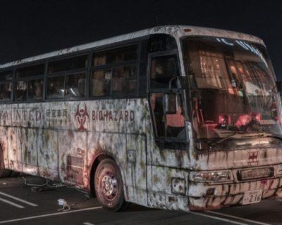 """「オバケバス」が高速サービスエリアに出没!?移動式""""お化け屋敷""""を体感せよ"""